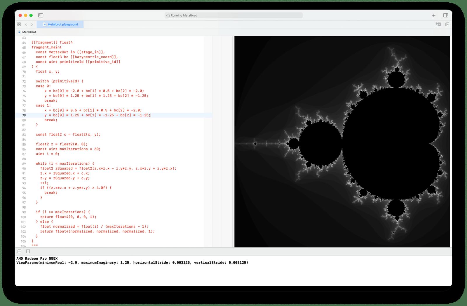 Mandelbrot set rendered using barycentric coordinates
