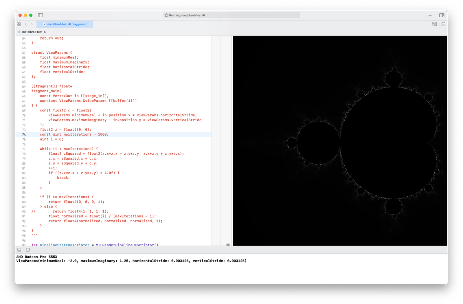 The Mandelbrot set rendered with 800 × 800 pixels, in shades of gray, with a maximum of 1000 iterations per pixel