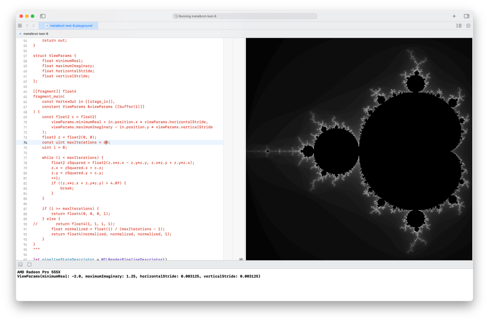 The Mandelbrot set rendered with 800 × 800 pixels, in shades of gray, with a maximum of 60 iterations per pixel
