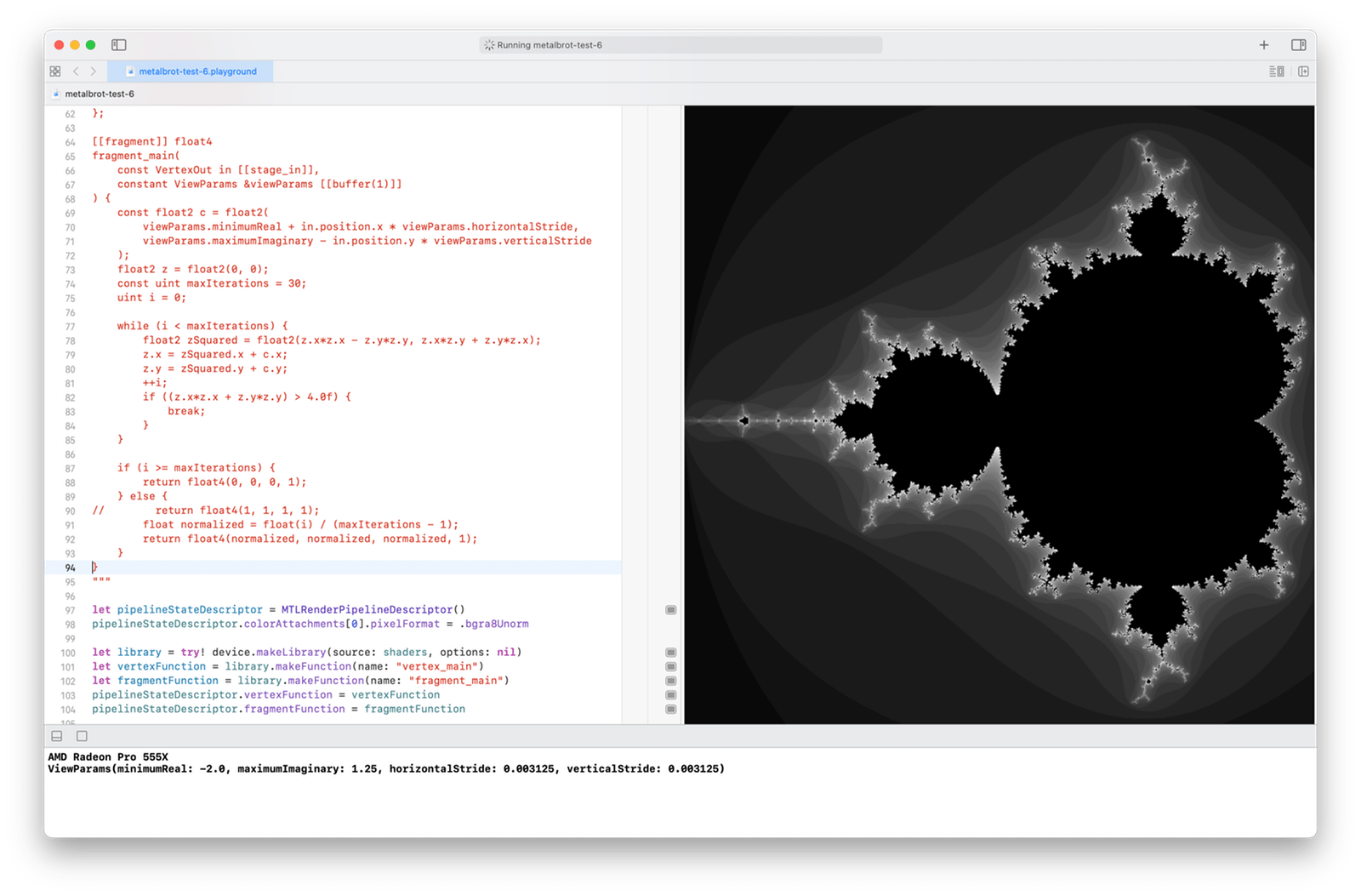 The Mandelbrot set rendered with 800 × 800 pixels, in shades of gray